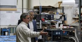 Jerry Smith discusses operations at the Vernon, New York, Regional Distribution Center with Representative Brindisi.