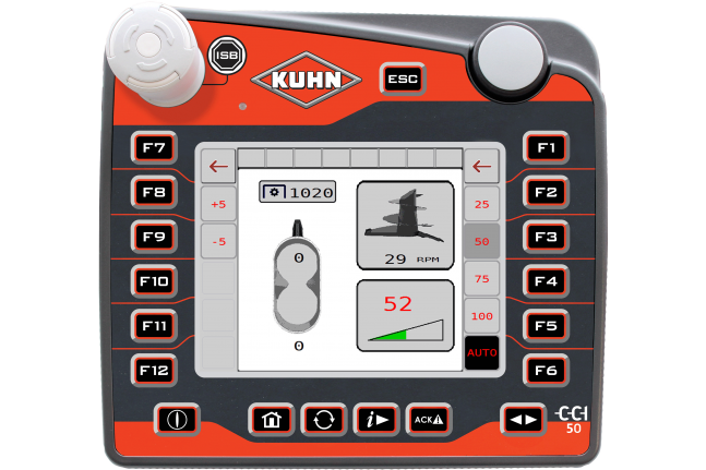 The different CCI applications as standard on the ISOBUS CCI 50 terminal