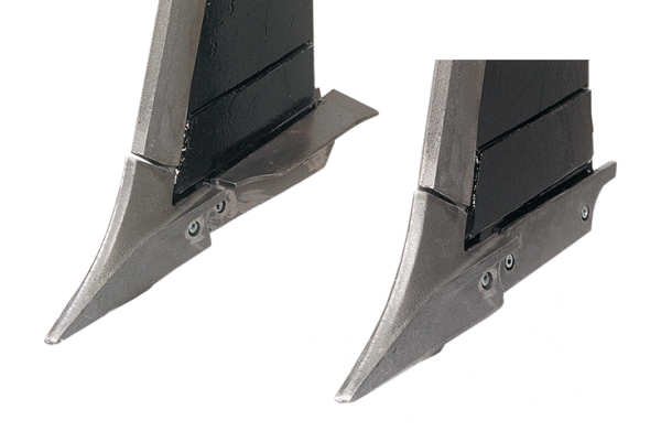 """3/4"""" chromium carbide point with 5"""" shattering wing on left and with a low-disturbance shank cap on the right"""