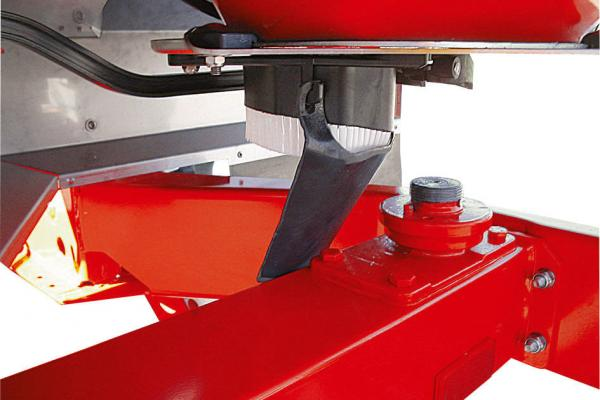 Close-up photo of the Direct Flow Control (DFC) system on an Axis 30.2 Q fertilizer spreader.