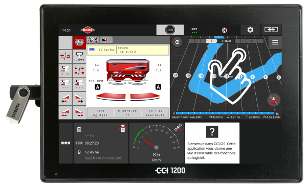 CCI 1200 terminal with a hand representation showing the intuitive browsing thanks to the MultiTouch function.