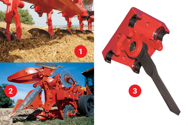 1. Traction Bolt - 2. Non-Stop Hydraulic (NSH) Reset - 3. Heavy-Duty Plow Leg Articulation and Tie Rod