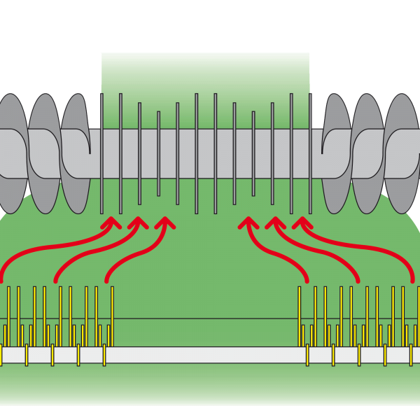 Illustration of hay going into the integral rotor of the round baler