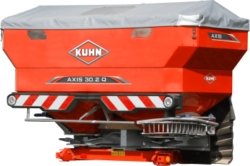 A close-up of an Axis 30.2 Q fertilizer spreader on a white background